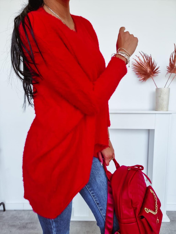 Oversize predĺžený Teddy sveter Bibianne - červený