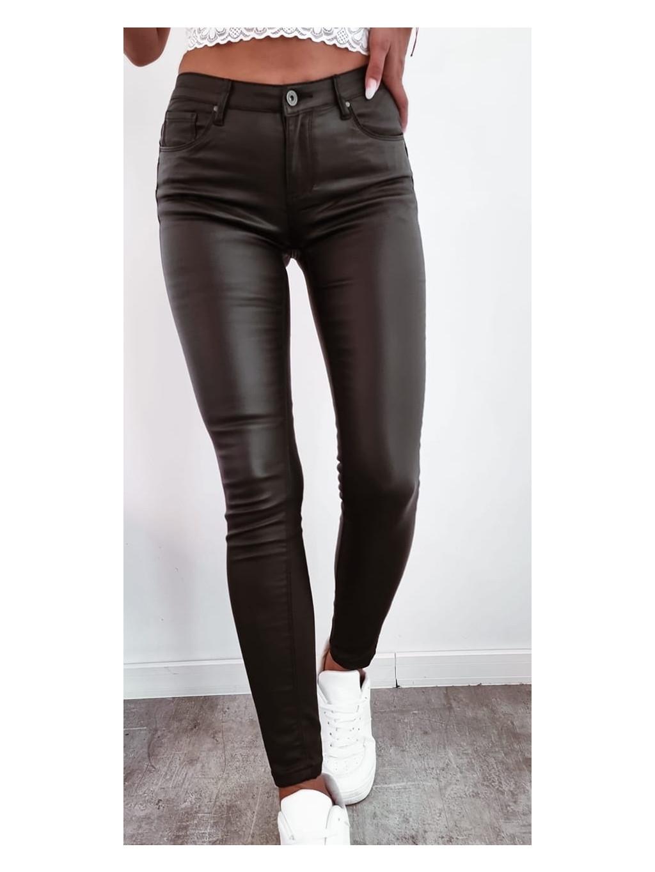 Dámske koženkové nohavice M. Sara S389213 - čierne