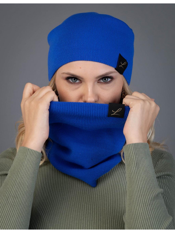 Dámska sada čiapka a tunel Lena - modrá
