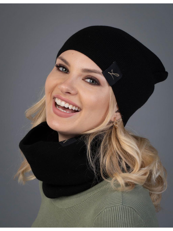 Dámska sada čiapka a tunel Lena - čierna