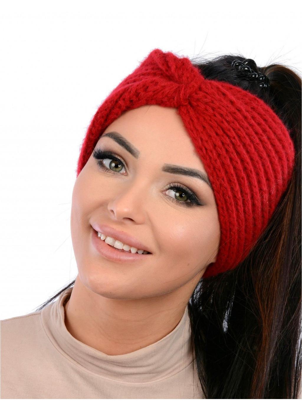 Dámska pletená čelenka Vilma - červená