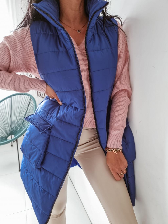 Dámska dlhá vesta Faye - modrá