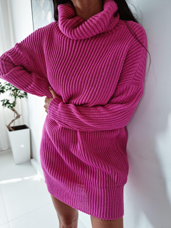 Pletený rolákový sveter Alice - fuchsiový