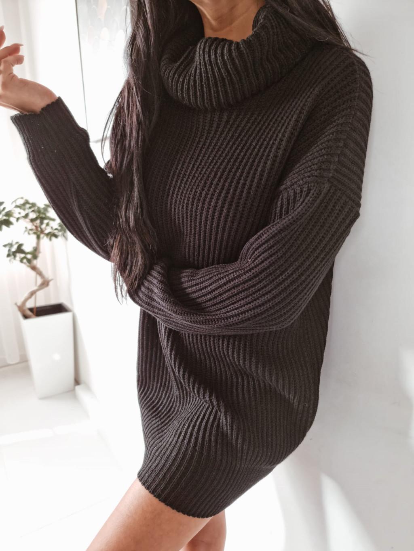 Pletený rolákový sveter Alice - čierny