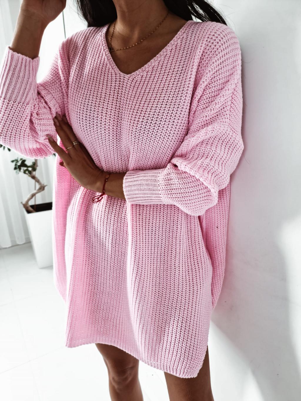 Dámsky pletený oversize sveter Mirana - ružový