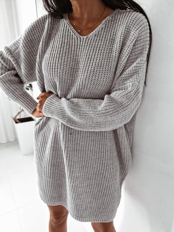 Dámsky pletený oversize sveter Mirana - sivý