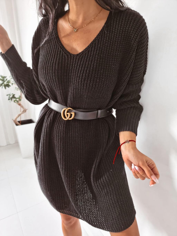 Dámsky pletený oversize sveter Mirana - čierny