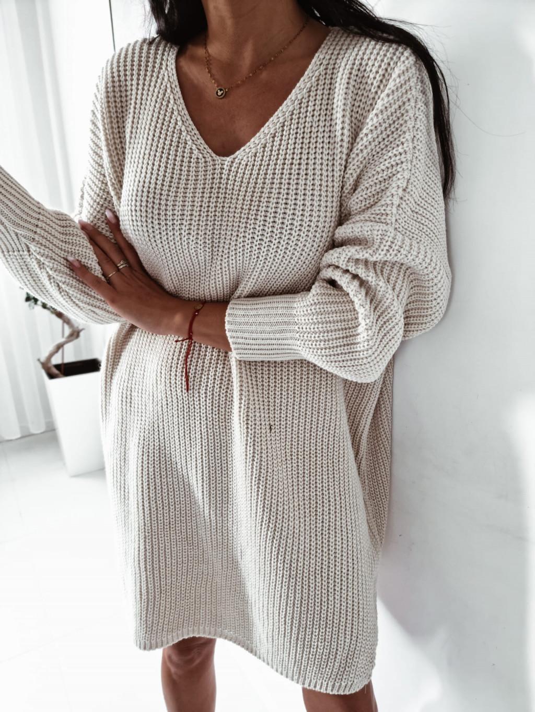 Dámsky pletený oversize sveter Mirana - bežový