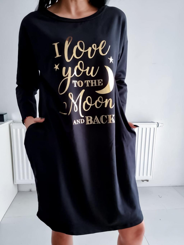 Teplákové šaty Moon - čierne