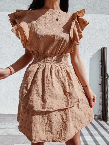 Madeirové šaty Laura - camel