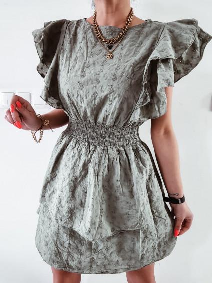 Madeirové šaty Laura - khaki