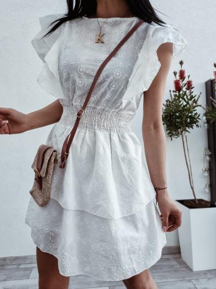 Madeirové šaty Laura - biele