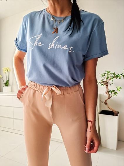 Dámske tričko She shines - modré