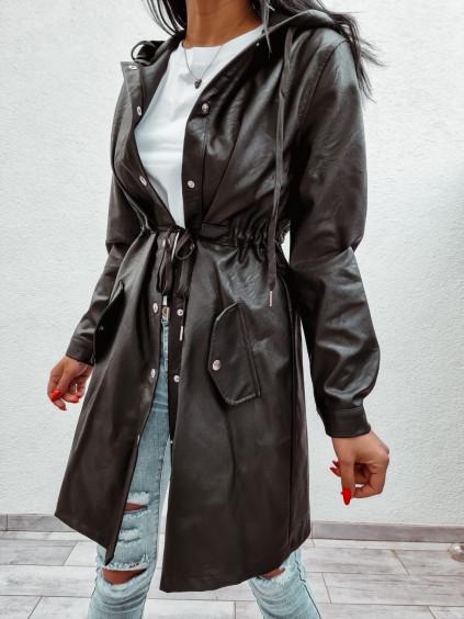 Predĺžená koženková bunda s kapucňou