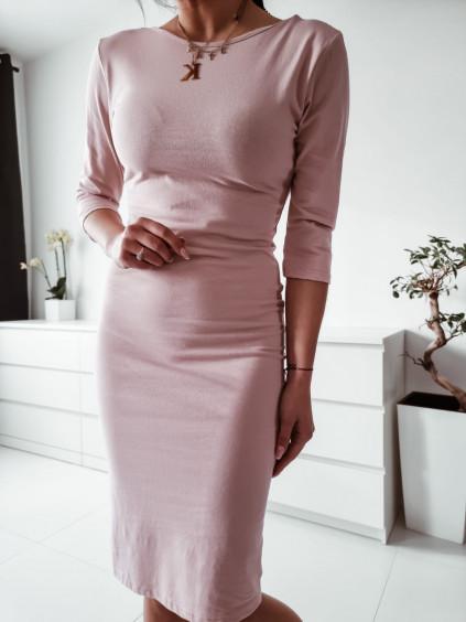 Dámske šaty s 3/4 rukávom - ružové