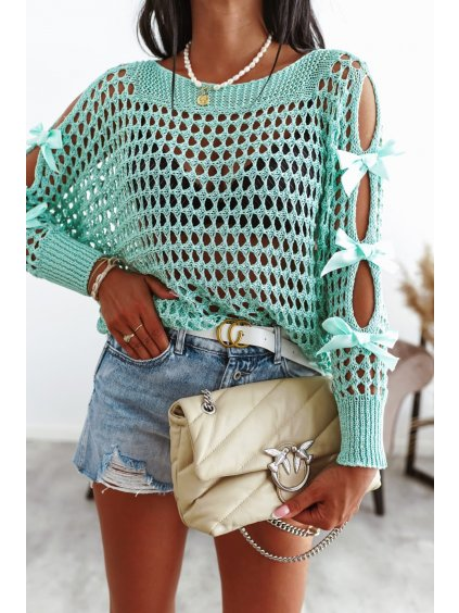 Perforovaný sveter s mašľou - tyrkysový