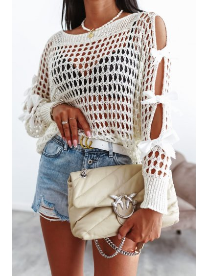 Perforovaný sveter s mašľou - bežový