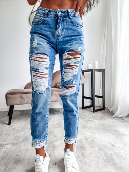 Potrhané Mom jeans HM6146-2 - modré