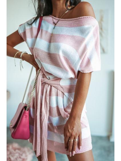 Tunikové šaty s krátkym rukávom Lujza - ružové