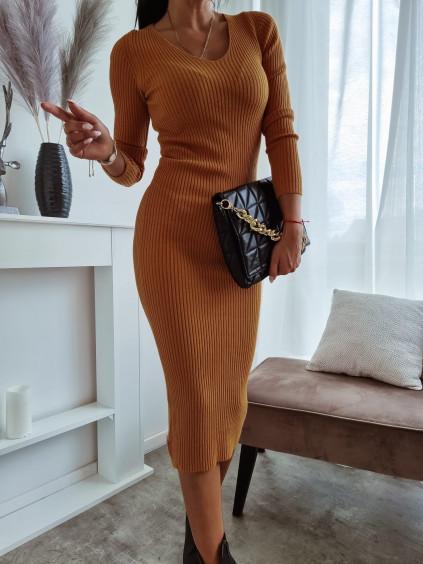 Úpletové šaty s dlhým rukávom Angelo - horčicové