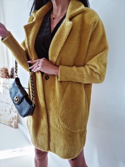 Dámsky kabát Alpaka Queen - horčicový