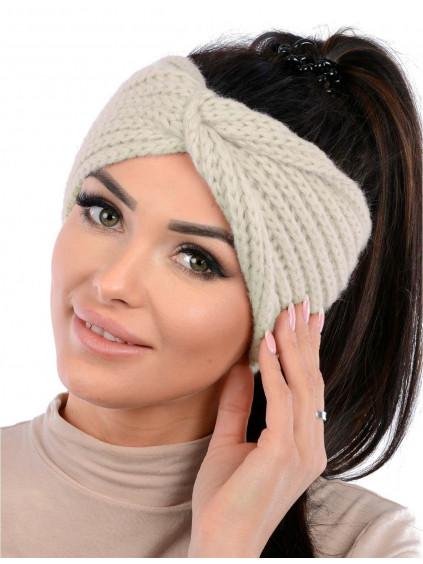 Dámska pletená čelenka Vilma - bežová