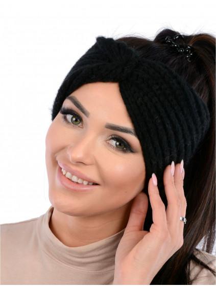 Dámska pletená čelenka Vilma - čierna