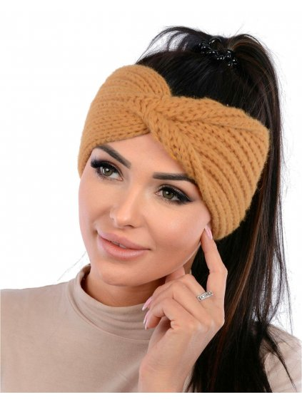 Dámska pletená čelenka Vilma - camel