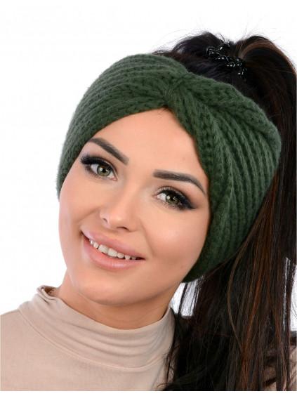 Dámska pletená čelenka Vilma - zelená