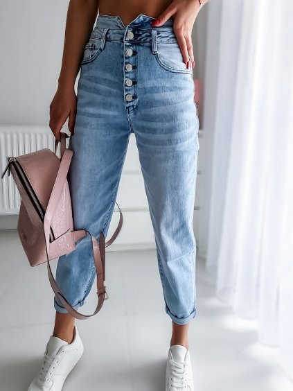Mom jeans F3092 - modré