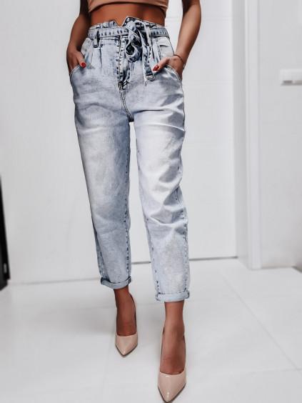Mom jeans s opaskom - F3074 - modré