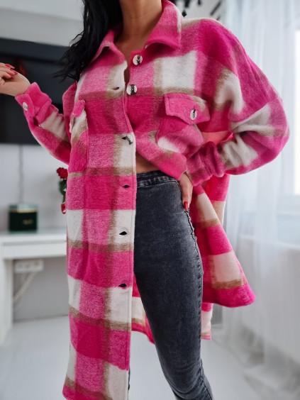 Károvaný košeľový kabát - ružový