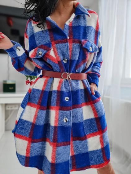 Károvaný košeľový kabát - modrý