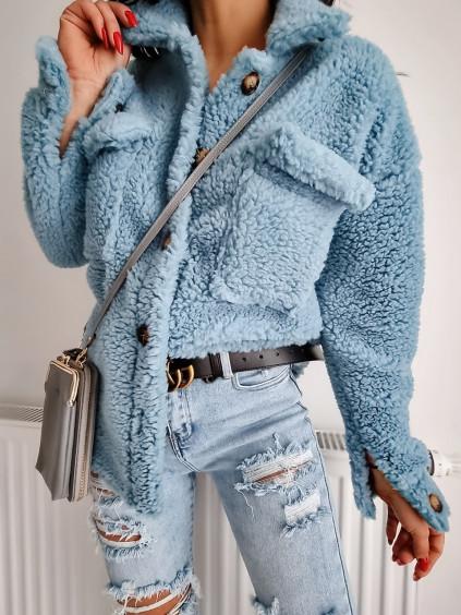 Košeľový Teddy kabát - modrý