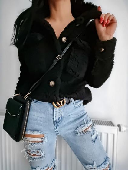 Košeľový Teddy kabát - čierny