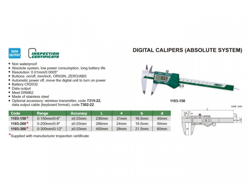 1103 150 Digitální posuvné měřítko INSIZE Absolute s posuvovým kolečkem 150 mm
