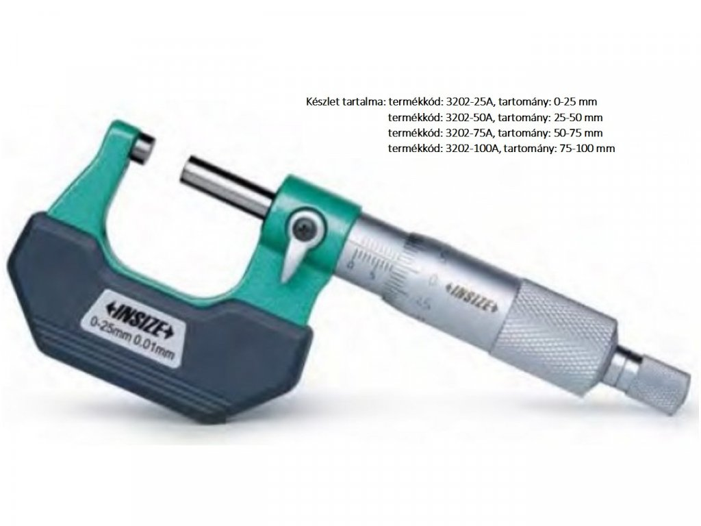 Insize-3202-25A-standard-külső-mikrométer-4készlet