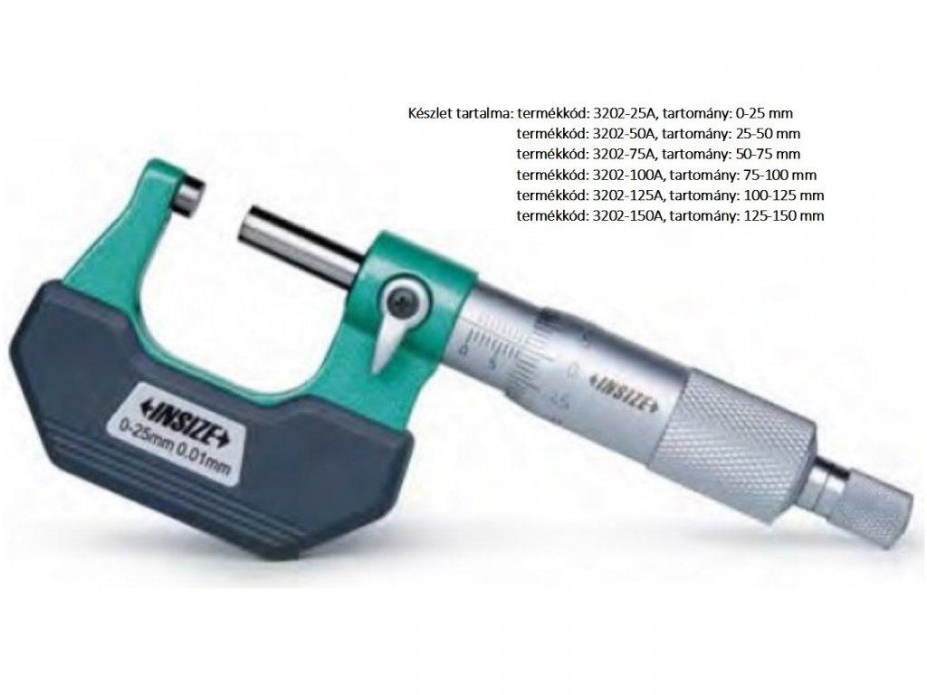Insize-3202-25A-standard-külső-mikrométer-6készlet
