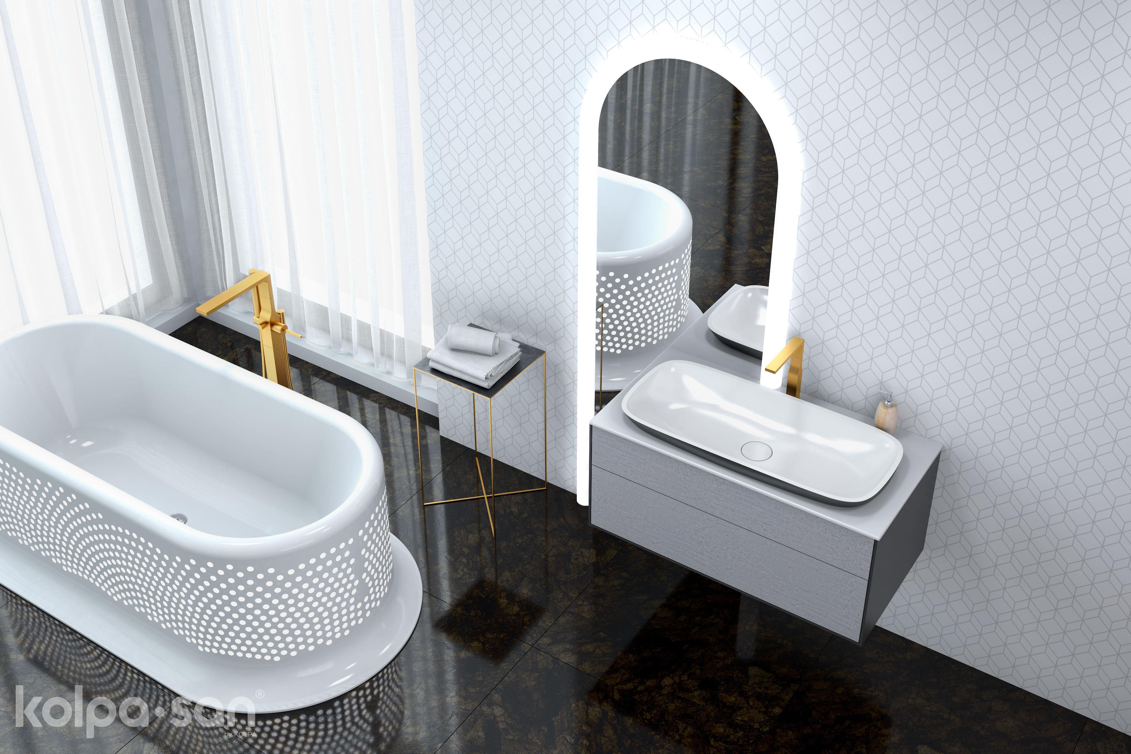 Kolpa-San skříňka s umyvadlem a zrcadlem do koupelny