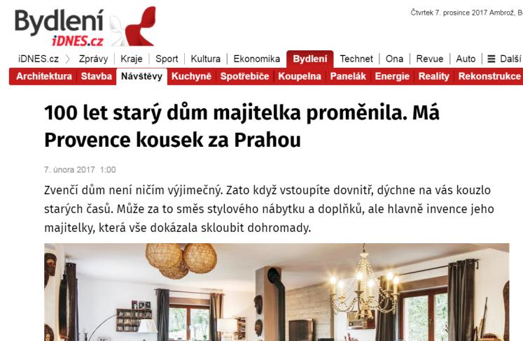 100 let starý dům majitelka proměnila. Má Provence kousek za Prahou