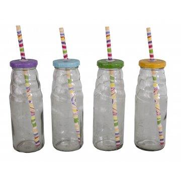 Různobarevné láhve / sklenice s brčkem