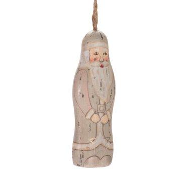 Santa Claus - dřevěná závěsná ozdoba šedá