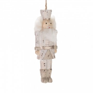 Postava Louskáčka / vojáček - dřevěná závěsná ozdoba šedá