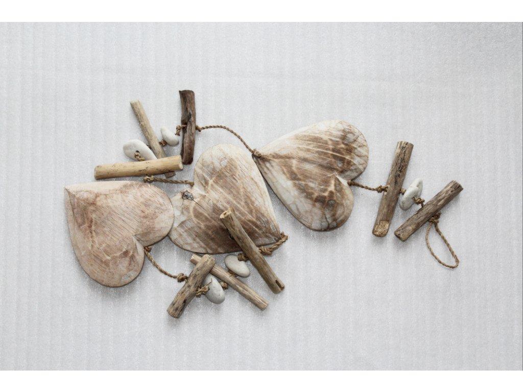 Girlanda srdce tmavé- plavené dřevo