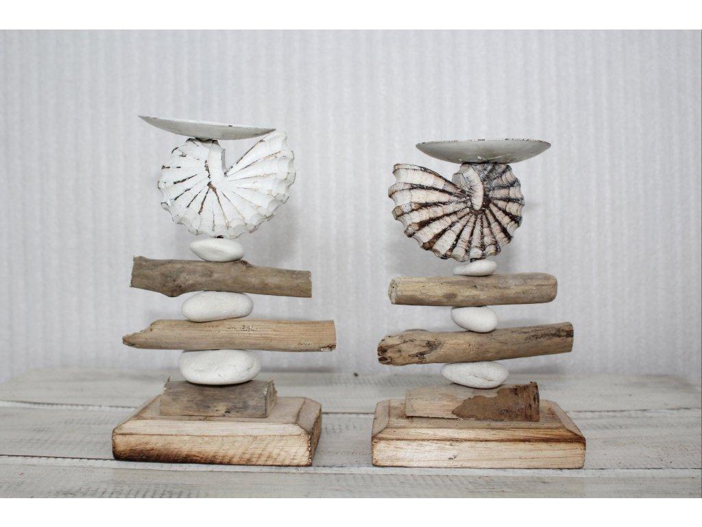 Svícen mušle- plavené dřevo