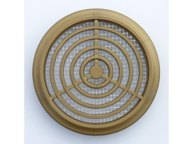 Větrací mřížka kruhová zlato hnědá