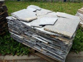 Kvarcit řecký šedý obklad/dlažba 20-40cm, tl. 1-3cm
