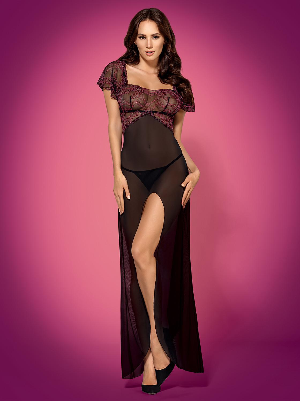 Levně Župan Sedusia gown - Obsessive Barva: černá, Velikost: S/M