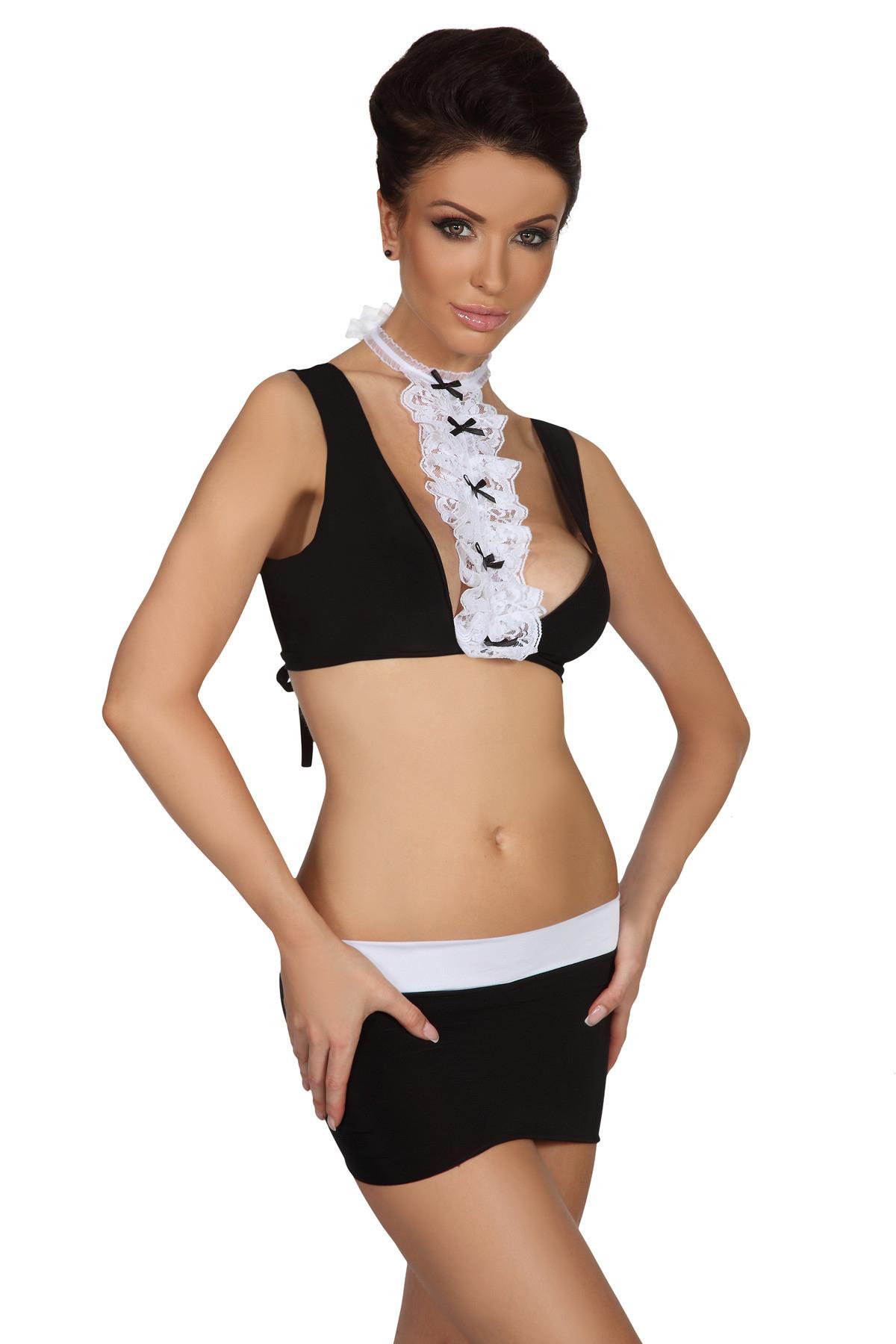 Beauty Night Fashion Sexy soupravy model 36967 Sussie - Beauty Night Barva: černo-bílá, Velikost: L/