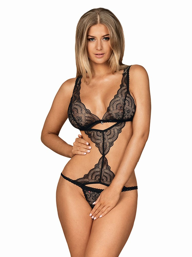 Levně Perfektní body Firella teddy - Obsessive Barva: černá, Velikost: S/M